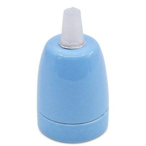 Portalampara de ceramica para bombilla LED E27 Azul