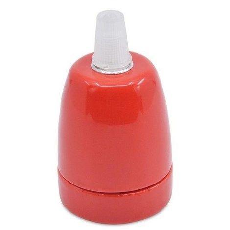 Portalampara de ceramica para bombilla LED E27 Rojo