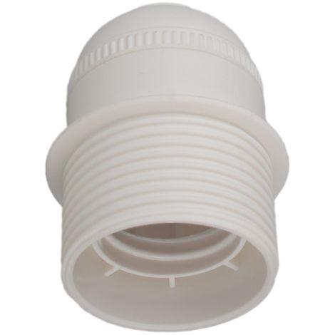 Portalámparas blanco E27 cuerpo roscado con tope (Solera 6829CTB) (Blíster)