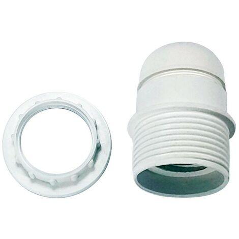 Portalámparas casquillo E27 blanco con arandela - Blanco
