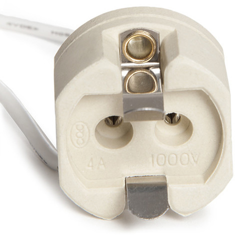 Portalámparas Cerámico G12 Cable 160Mm 180ºc (KD-PORTALG12)