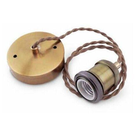 Portalamparas colgante 1M laton cable dorado trenz GSC 0704715