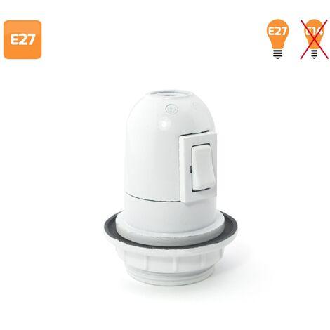 Portalámparas con interruptor y arandela E27 blanco