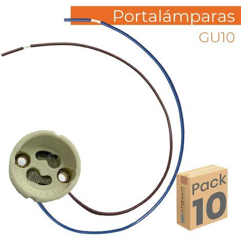 Portalámparas de cerámica para bombilla GU10 con Cable Extralargo | Pack 10 Uds. - Pack 10 Uds.