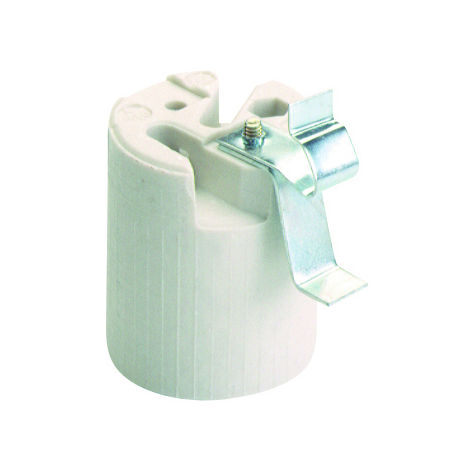 Portalámparas de rosca cerámico blanco 250V 4A (Solera 582G)