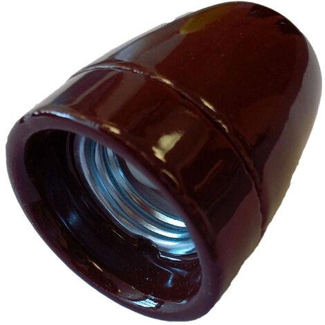 Portalámparas decorativo vintage cerámico marrón E27 100W (F-Bright 1200545-M)