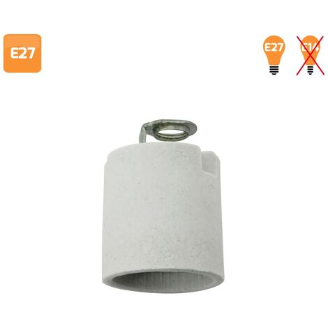 Portalámparas E27 cerámico gris - Gris