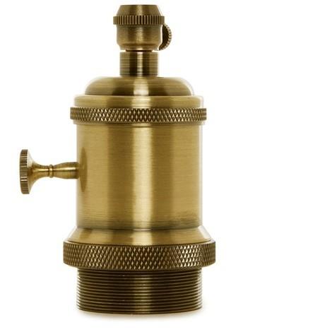 Portalámparas E27 Cobre Baquelita- Interruptor Rotativo, Color Cobre Viejo [AM-AH004] (AM-AH004)