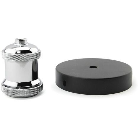Portalámparas E27 de aluminio con florón negro - Plata-negro