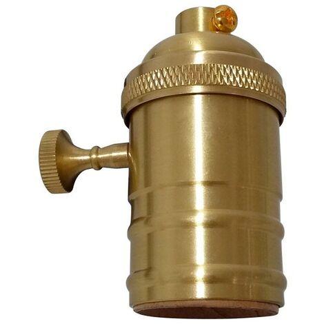 Portalámparas E27 diseño vintage latón + interruptor - Dorado