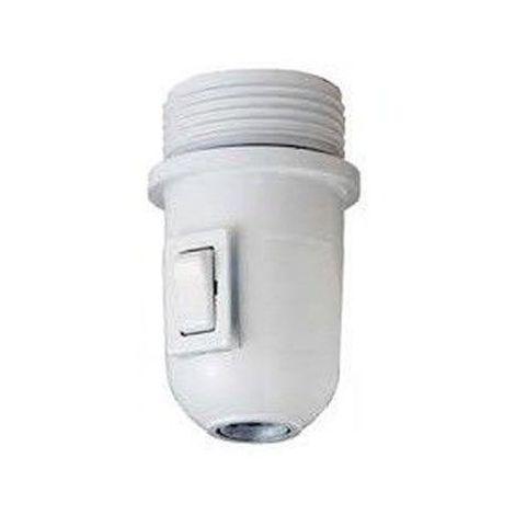 Portalámparas E27 semiroscado BLANCO con interruptor y arandela LB 7.31017