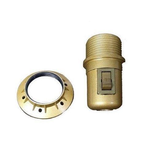 Portalámparas E27 semiroscado DORADO con interruptor y arandela LB 7.31019