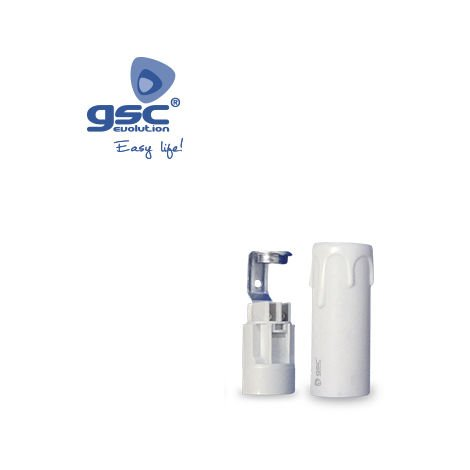 Portalámparas + funda de vela E14 26x65mm blanca GSC 2203325