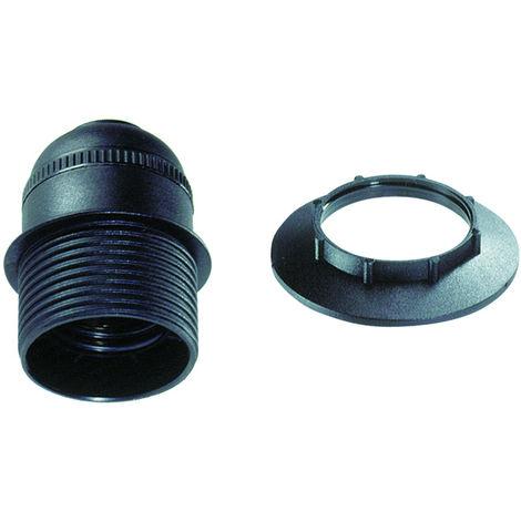 Portalámparas roscado negro E27 con tope y arandela (Solera BT6829CTN) (Blíster)