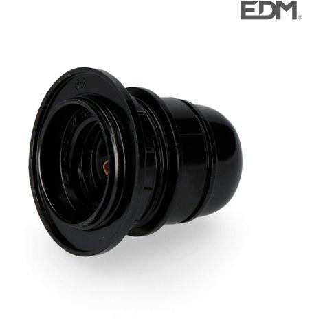 Portalamparas semiroscado e-27 homologado + arandela retractilado negro edm