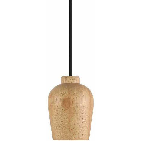 Portalámparas Serie Wooden Holder E27 Cable Textil 1m Color - Negro
