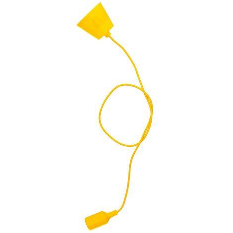 Portalámparas silicona E27 cable textil 1M - Amarillo