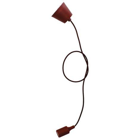 Portalámparas silicona E27 cable textil 1M - Marrón