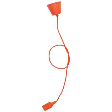 Portalámparas silicona E27 cable textil 1M - Naranja