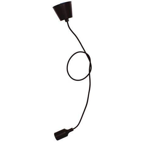 Portalámparas silicona E27 cable textil 1M - Negro
