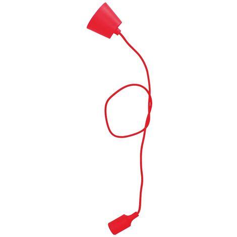 Portalámparas silicona E27 cable textil 1M - Rojo