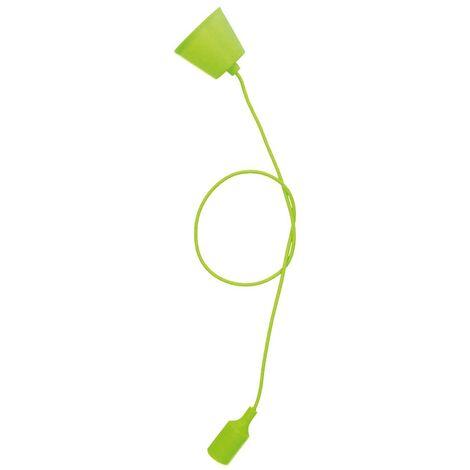 Portalámparas silicona E27 cable textil 1M - Verde