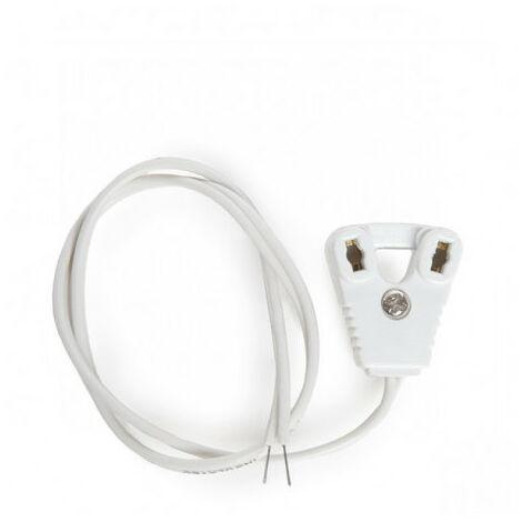 Portalámparas Tubo LED T8 Cable 30 cm Blanco
