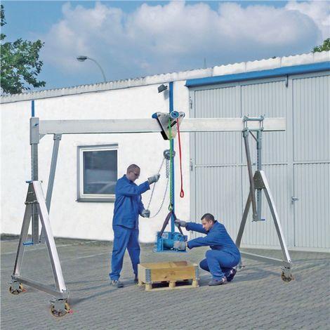 Portalkran Alu.Trgf.1000 kg lichte B.4100mm Bau-H.2550-3400mm m.Flaschenzug