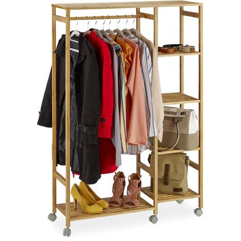 Portant à roulettes bambou, Penderie Porte vêtements tringle rangement 6 étagères, 136,5 x 92 x 30 cm, nature