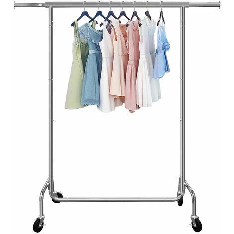 Portant à Vêtement Mobile Porte Vêtement pour Chambre Salon Balcon avec 4 Roulettes