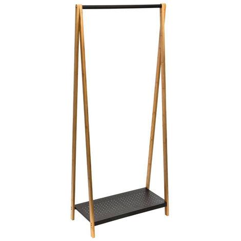 Portant à vêtements bambou et métal Noir - L. 71 x P. 33.5 x H. 160.5 cm