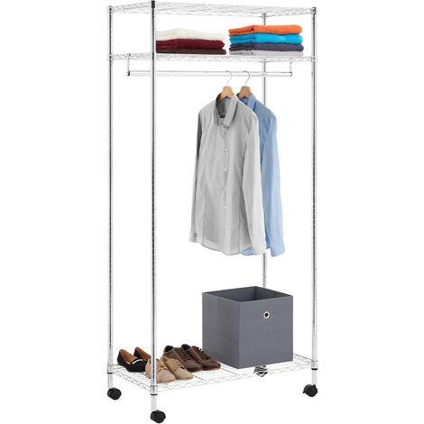 Portant à vêtements BRINDISI penderie simple sur roulettes vestiaire mobile avec 1 barre et 3 tablettes, en métal chromé