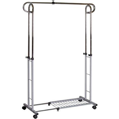Portant à vêtements CAPRI penderie simple sur roulettes vestiaire mobile avec 1 tringle réglable en hauteur et en largeur, aluminium
