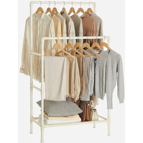 Portant à vêtements Double Barre, Portemanteau, Penderie, Organisateur, en métal, avec étagère de Rangement à 2 Niveaux, Charge 70 kg, Montage Facile, Blanc RDR01WT - Blanc