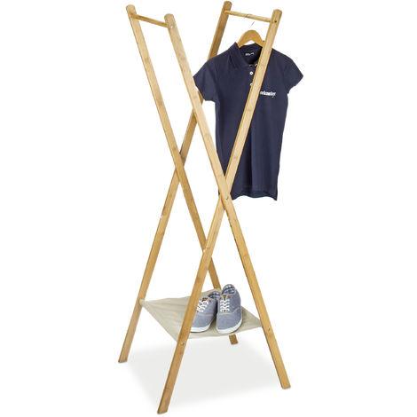 Portant à vêtements en bambou pliant H x l x P: 155,5 x 50 x 57,5 cm penderie garde-robe avec 2 tringles en bois support valet avec compartiment chaussures en tissu, nature