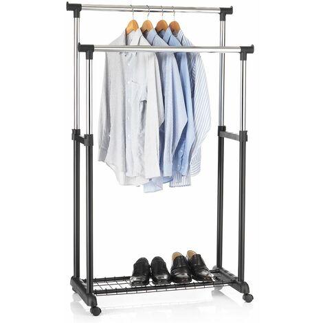 Portant à vêtements GROSSO penderie double sur roulettes vestiaire mobile 2 barres de hauteur réglable et 1 tablette, chromé et noir