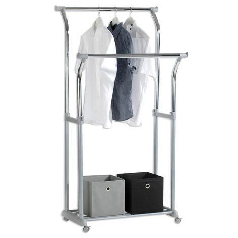 Portant à vêtements MERIDA penderie double sur roulettes vestiaire mobile avec 2 barres de hauteur réglables, en métal chromé et gri