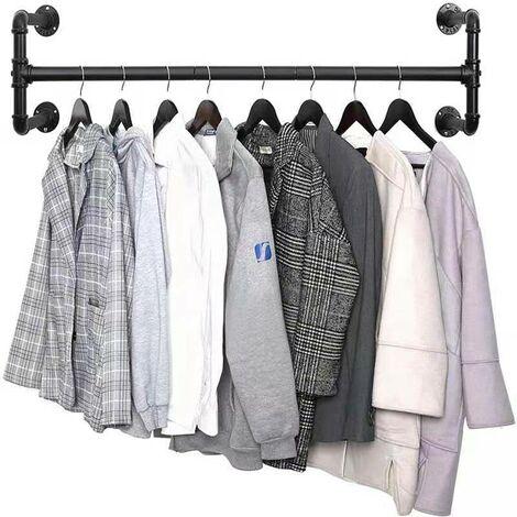 Portant à Vêtements Mural de Style , Support de Vêtement en Fer, Support Suspendu Polyvalent, Amovible et Rustique