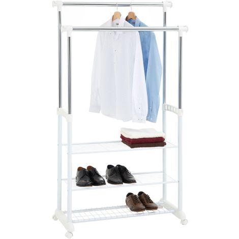 Portant à vêtements OLGA penderie double sur roulettes hauteur réglable 2 barres télescopiques avec étagères, en métal chromé/blanc