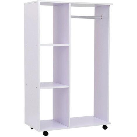 Portant à vêtements penderie mobile avec roulettes 3 étagères latérales + grand espace penderie panneaux particules blanc