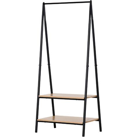 Portant à vêtements penderie style contemporain triangulaire dim. 64L x 43l x 149H cm 2 étagères MDF bois clair acier noir