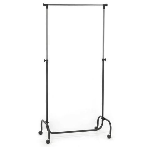 Portant à vêtements TIGER penderie simple sur roulettes vestiaire mobile avec 1 barre de hauteur réglable, en métal chromé et noir