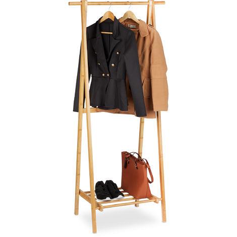 Portant bambou, penderie porte vêtements piable, tringle rangement dressing, étagère, HLP 160x75x45 cm, nature