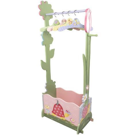 Portant chambre enfant penderie fille en bois 4 cintres rose vert Magic Garden Fantasy Fields W-7482A