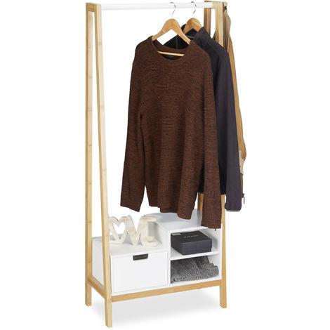 Portant en bambou, Penderie, Porte vêtements, Tringle rangements dressing, HLP 139,5x64,5x31 cm, nature-blanc