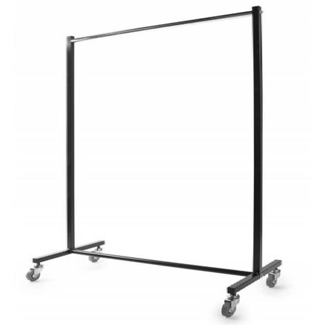 Portant industriel avec 1 barre en chromé noir - H 160 x L 100 x P 50 cm- PEGANE -