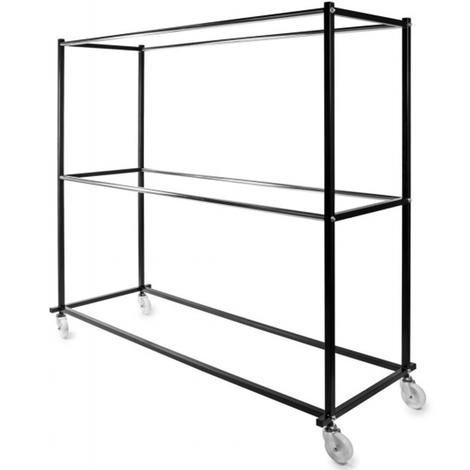 Portant industriel avec 4 barres en chromé noir - H 195 x L 200 x P 70 cm- PEGANE -
