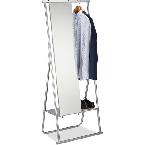Portant métal miroir porte-manteaux glace emplacement chaussures tringle HxlxP: 156,5 x 64,5 x 39 cm, argenté