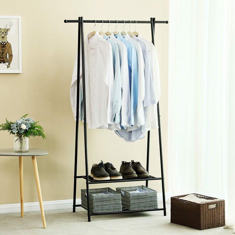 Portant Penderie à Vêtement Porte Manteau étagère Pour Chaussures Penderie Support Manteau Noirblanc
