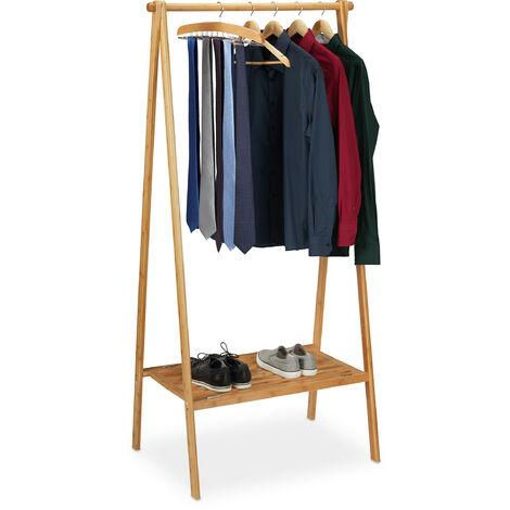 Portant pliable bambou, penderie porte vêtements, tringle rangement dressing, étagère, HLP 170x83x56cm, nature